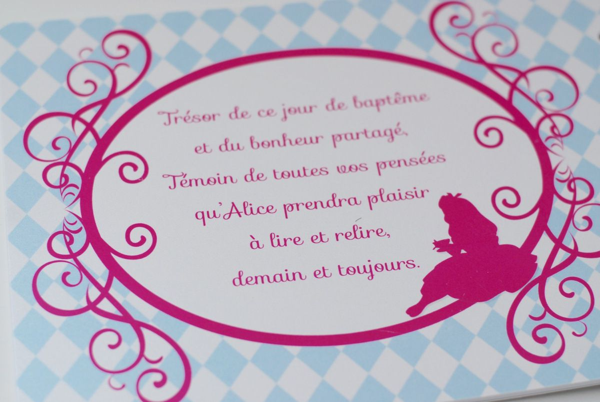 Le faire part de baptême de la douce Alice ... aux pays des merveilles ????