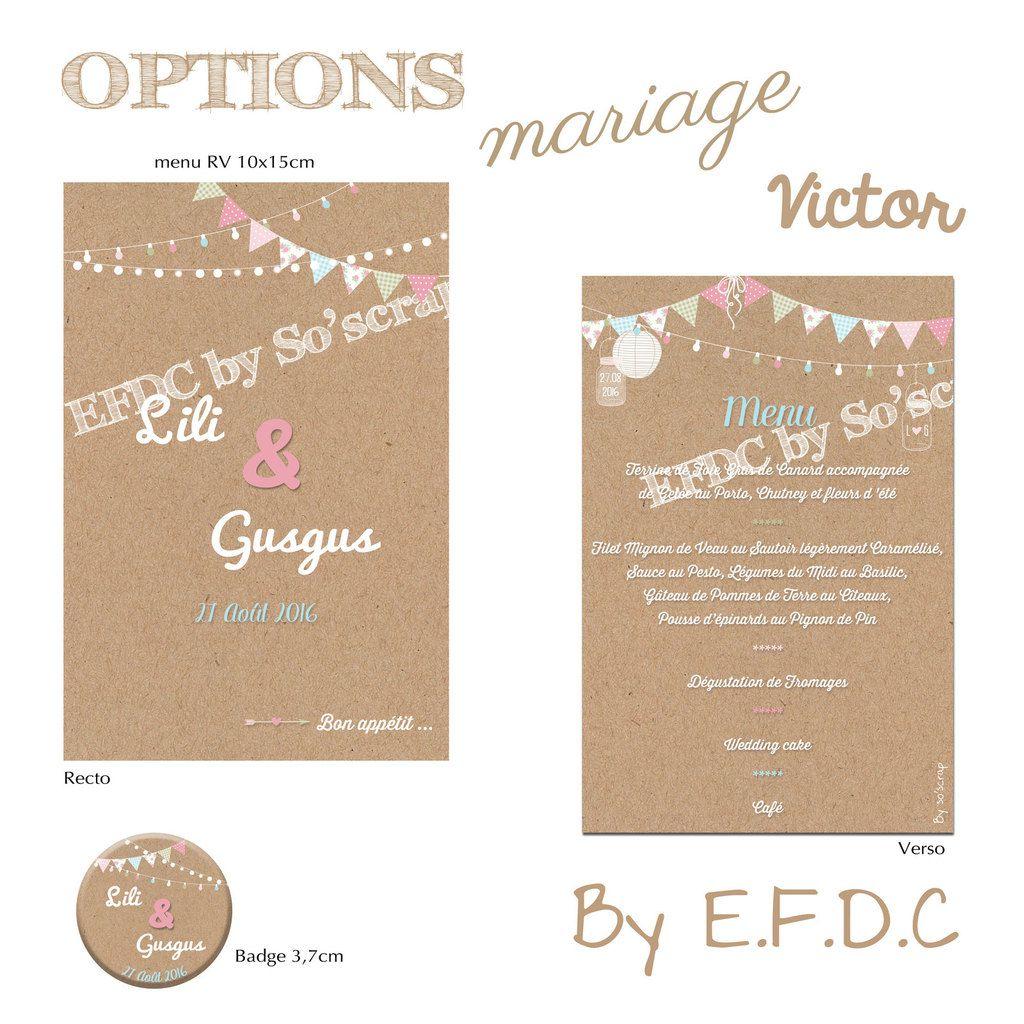 menu recto/verso 10x15cm assorti au faire part de mariage, badge 3,7cm, scrap digital, impression kraft, couleur pastel, fanions, shabby