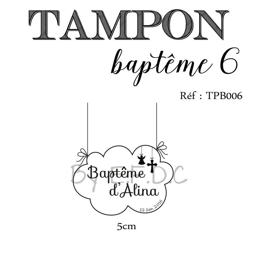 RÉF TPB006 : tampon sur mesure à personnaliser, montage sur support bois, forme nuage, ange et croix religieuse, baptême + prénom de l'enfant et date de baptême