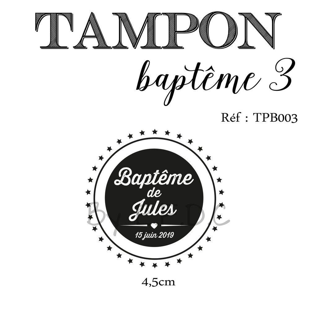 RÉF TPB003 : tampon baptême sur mesure, à personnaliser, prénom de l'enfant, date de baptême, rond, étoiles, montage sur support bois