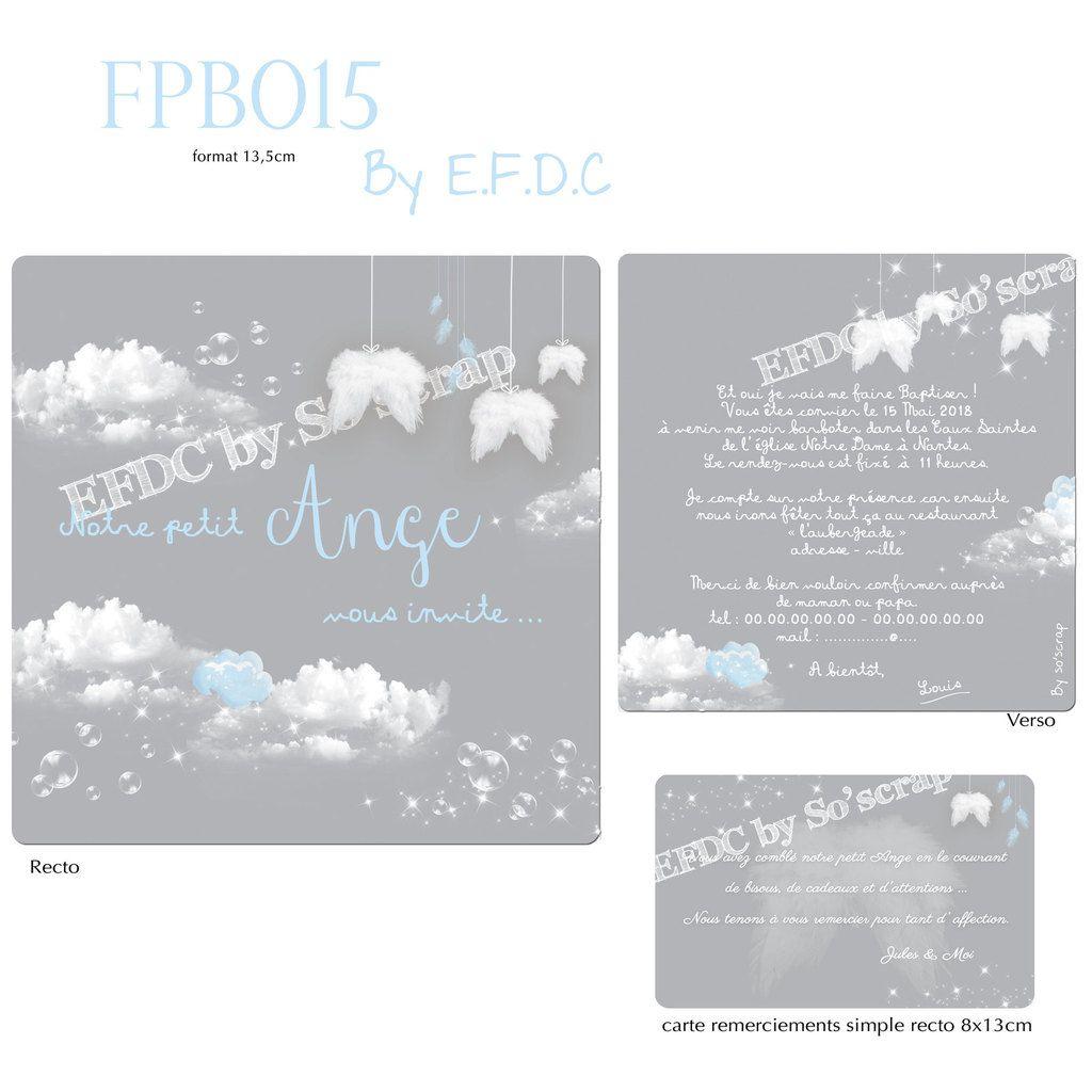 RÉF FPB015, création originale, sur mesure, à personnaliser, bleu et gris, ailes d'ange et plumes suspendues, scrapbooking digital, 13,5cm, nuages, carte de remerciements assortie
