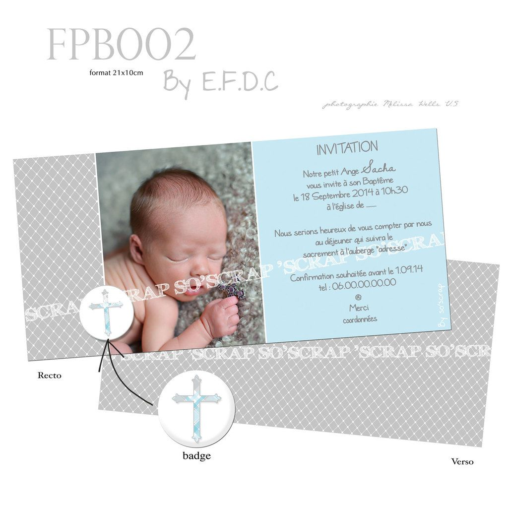RÉF : FPB002, invitation faire part baptême format 21x10cm création sur mesure, originale et unique, mixte, croix, badge photo scrapbooking digital, couleur à personnaliser, possibilité adapter pour une fille