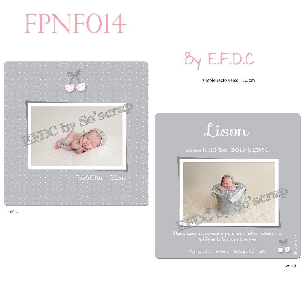 RÉF : FPNF014, faire part unique; original et sur mesure, thème cerises, gris, blanc et rose, pois, recto/verso 13,5cm, scrap digital, création épurée et sobre, à personnaliser photo et texte
