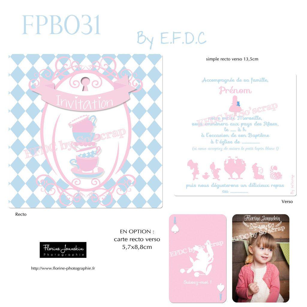 RÉF FPB031, faire part baptême thème Alice aux pays des merveilles, couleurs et texte modifiables et à personnaliser, scrap digital, petite carte avec photo en option, personnage dessin animé