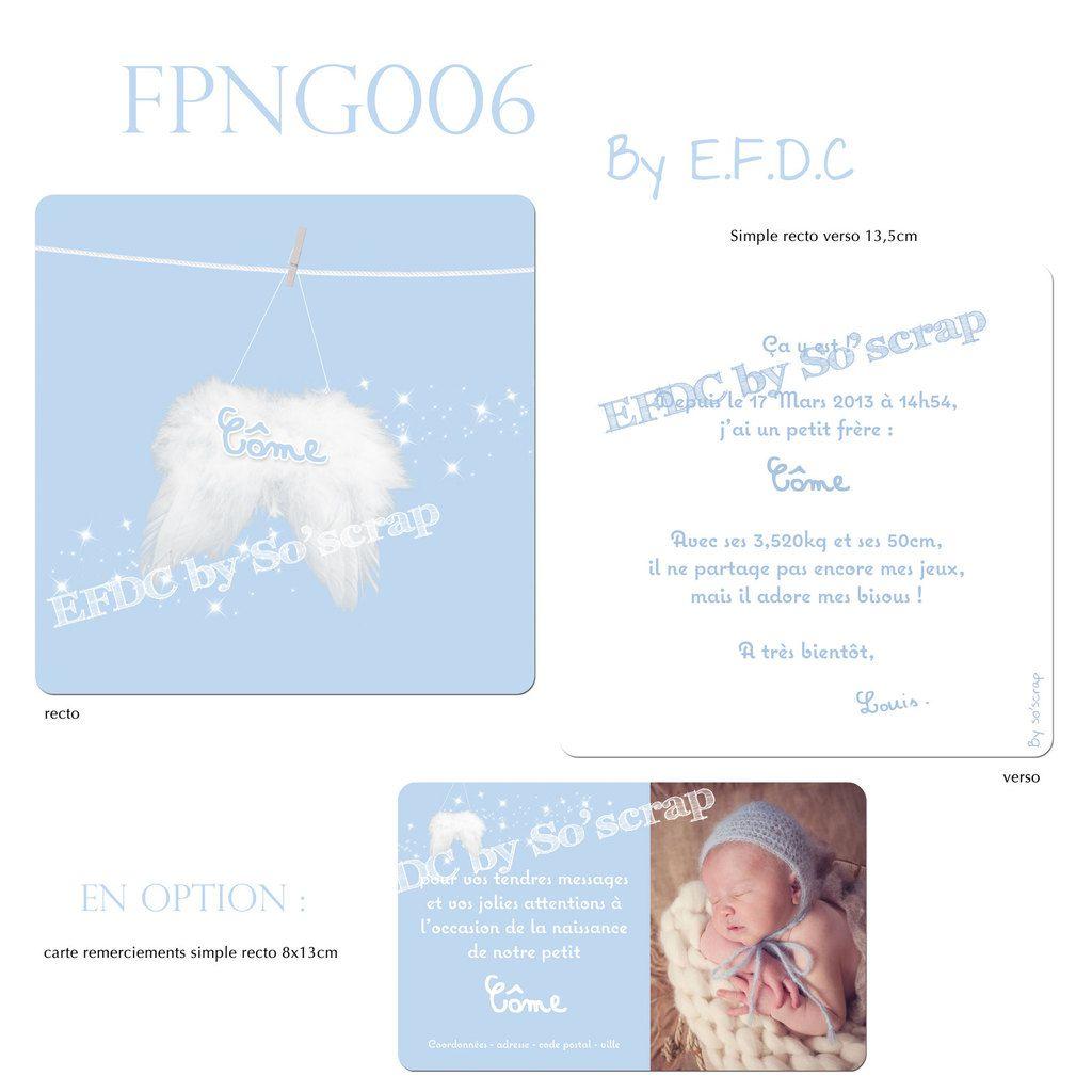 RÉF : FPNG006, faire part de naissance, thème ange, couleur bleu layette et blanc, ailes d'ange, étoiles scintillantes (scrap digital), recto/verso 13,5cm, texte à personnaliser, carte de remerciements assortie avec photo