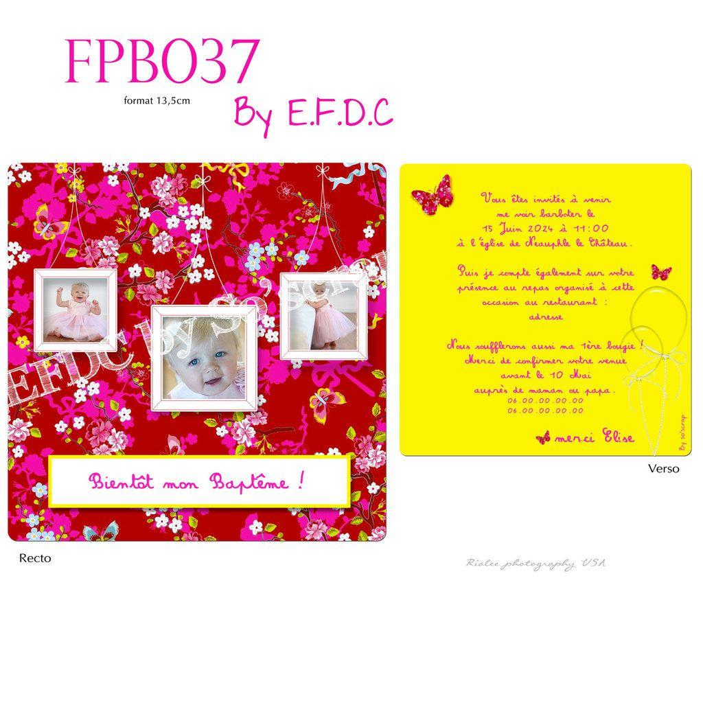 RÉF FPB037, faire part baptême girly fleurs, rouge, rose fuchsia, jaune, recto/verso 13,5cm, photo et texte à personnaliser, papillons, scrap digital, en fin de conte by so'scrap designs