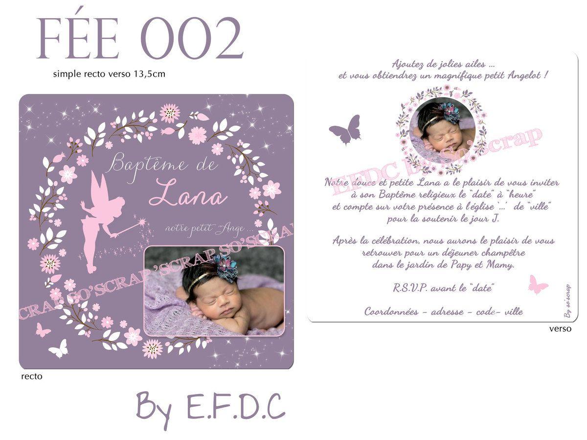 RÉF : FÉE002, faire part naissance ou baptême thème fée, recto/verso, couleur et texte personnalisables, scrap digital, photos, couronne de fleurs, papillons, fée clochette