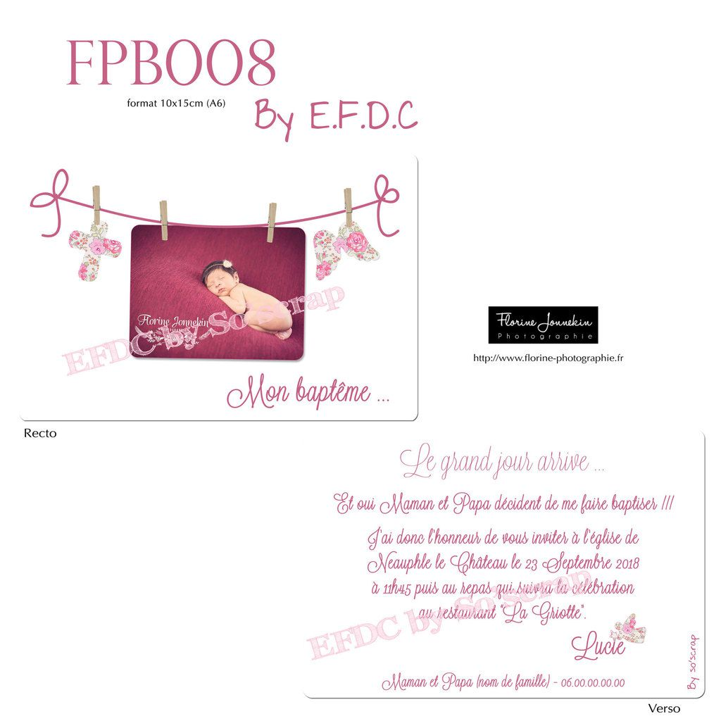 RÉF : FPB008, faire part baptême invitation, 10x15cm recto/verso, photo suspendue corde à linge, aile d'ange liberty, croix, traditionnel, photo, à personnaliser, scrapbooking digital, création originale, unique et sur mesure