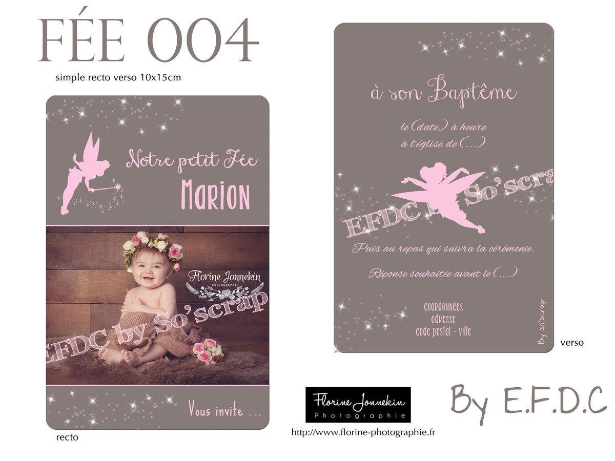 RÉF : FÉE004, faire part naissance ou baptême thème fée, recto/verso 10x15cm A6, couleur et texte personnalisables, scrap digital, photos, étoiles scintillantes, fée clochette