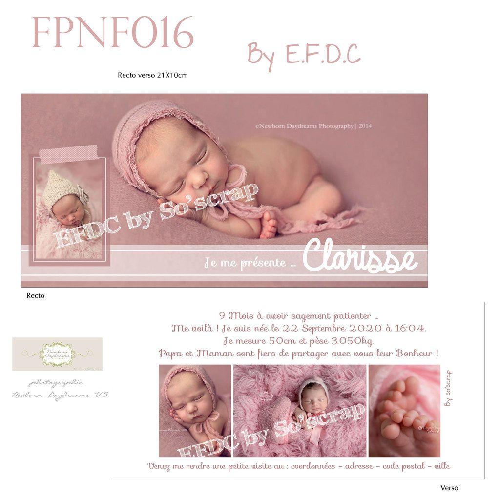 RÉF : FPNF016, faire part naissance, création épurée sur mesure et originale, recto/verso 21x10cm, 5 photos de bébé, à personnaliser, scrap digital