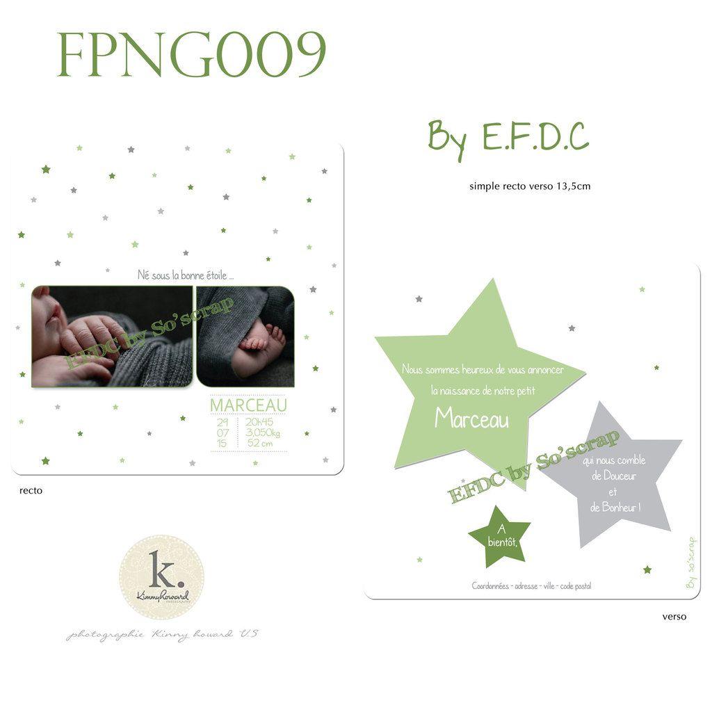 RÉF : FPNG009, faire part création originale et sur mesure, à personnaliser, mixte, camaïeu de vert (olive, amande ...) et gris, thème étoiles, photos, recto/verso 13,5cm, scrapbooking digital