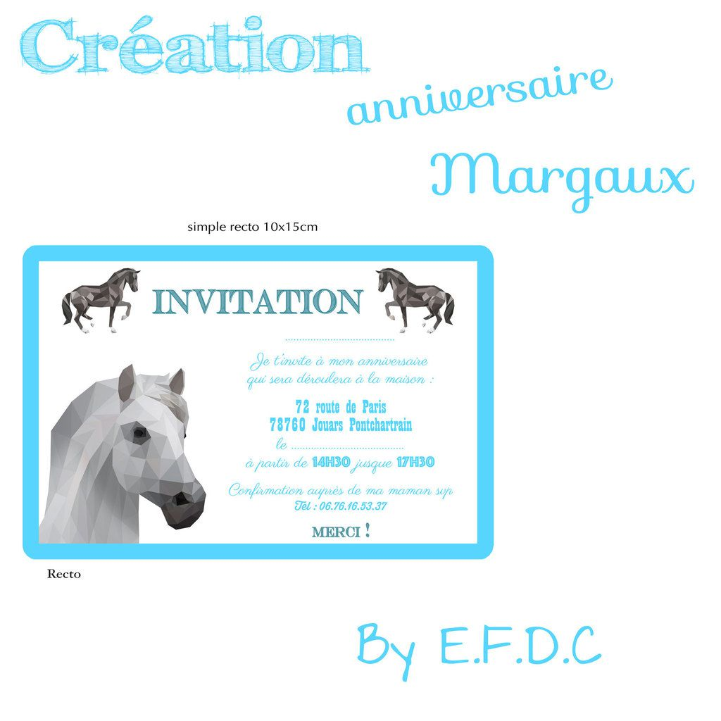 invitation carte anniversaire enfant, thème cheval, simple recto, 10x15cm, scrap digital, à personnaliser