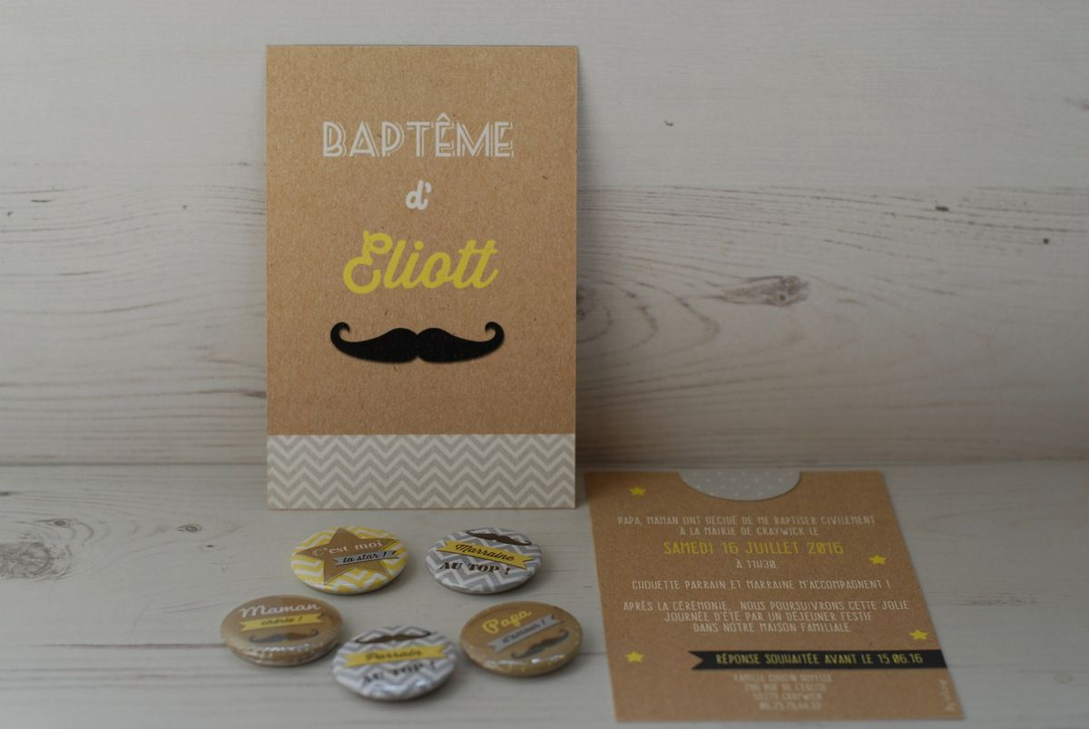 photo ensemble faire part baptême et badges