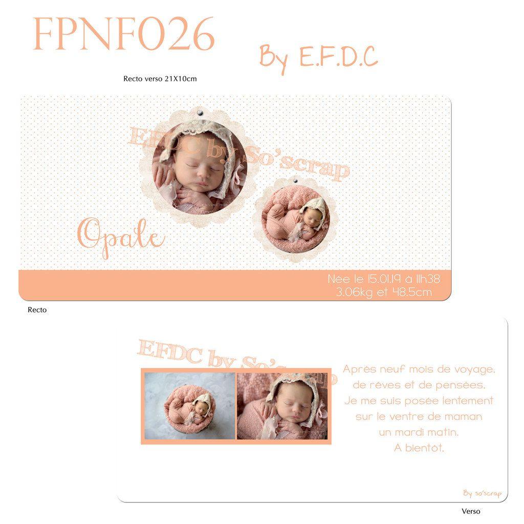RÉF : FPNF026, faire part naissance fille, recto/verso , 21x10cm, coloris abricot mandarine, scrap digital, à personnaliser couleur texte et photo, plumetis