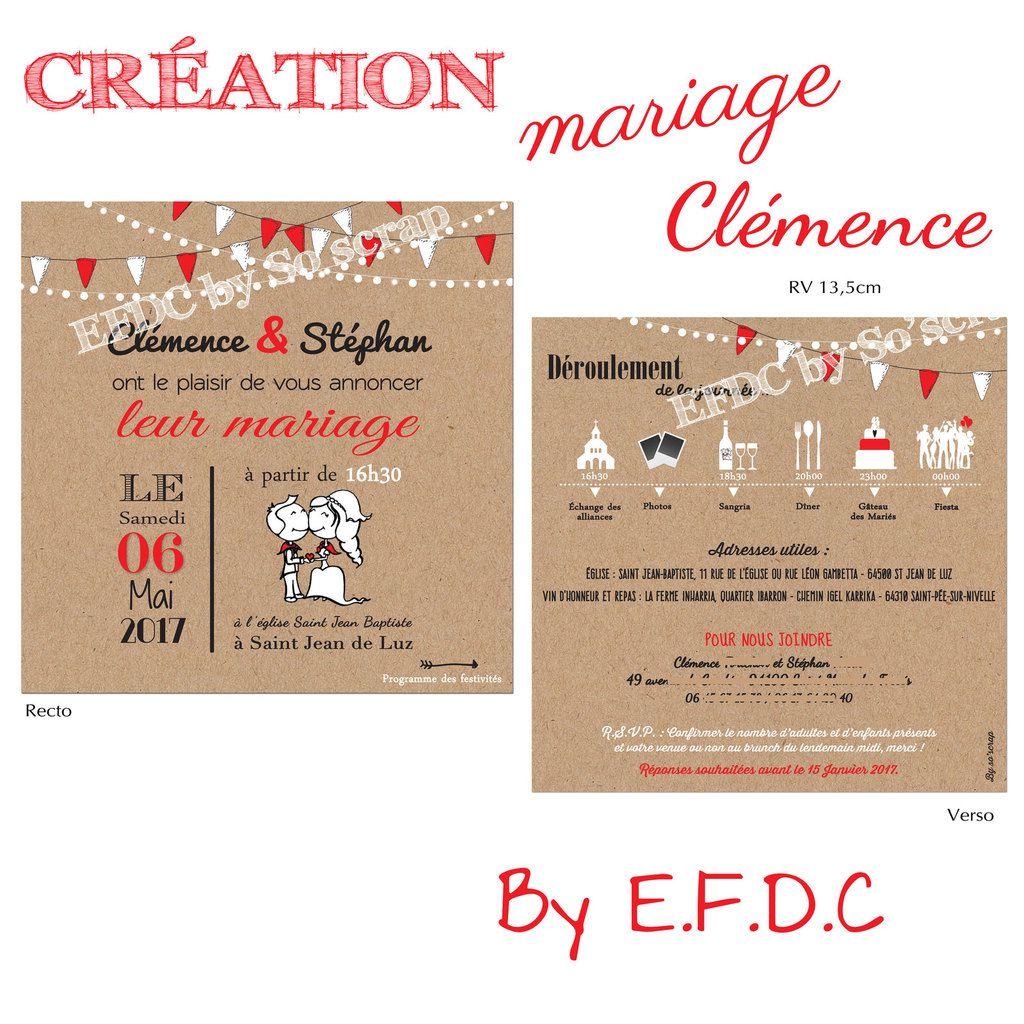 faire part mariage thème féria, rouge et blanc, impression kraft, pictogrammes pour la timeline (programme) de la journée, à personnaliser, recto verso 13,5cm, scrap digital