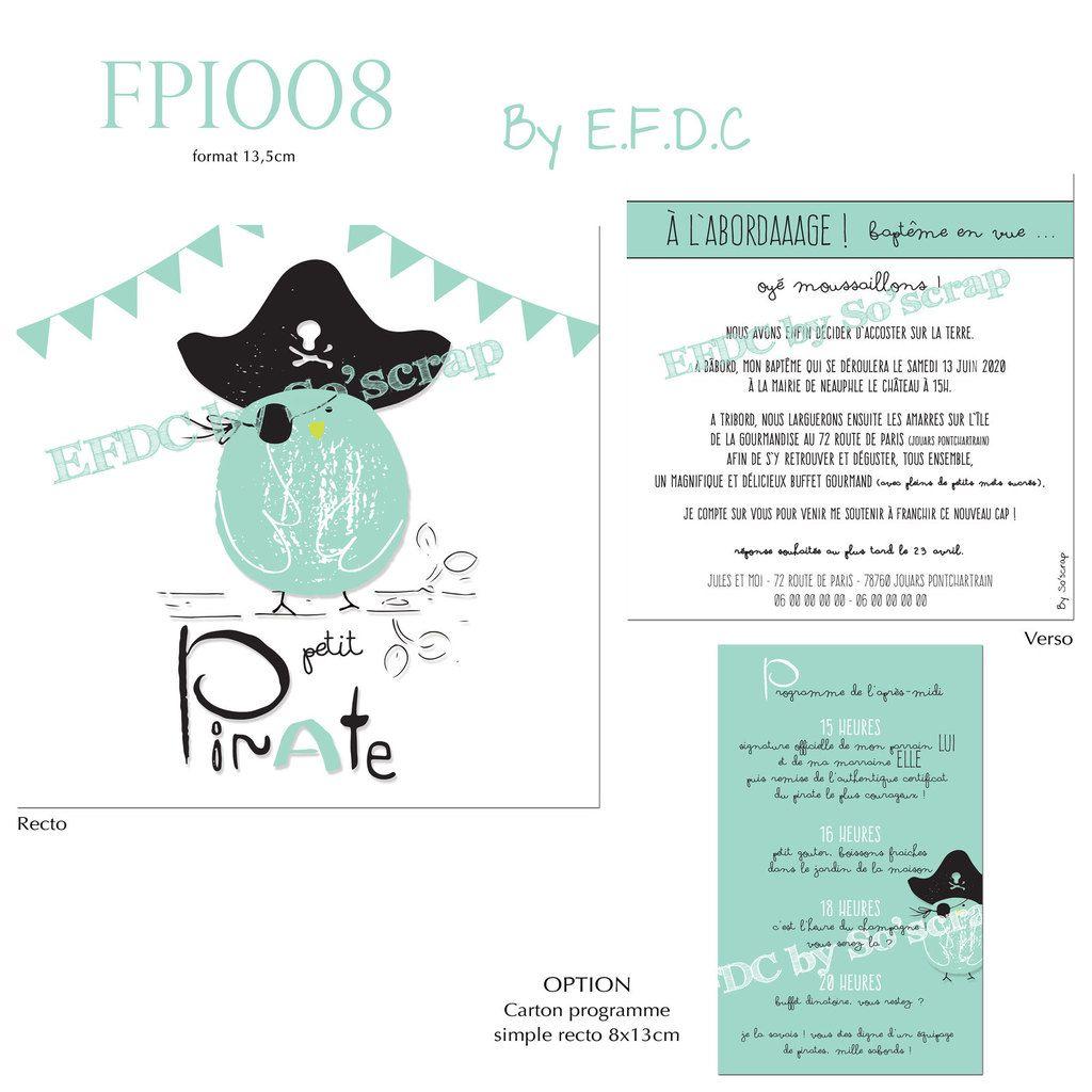 FPI008, faire part de baptême sur mesure, original, pirate, fanions, recto verso 13,5cm, à personnaliser texte et couleurs, scrap digital, carton programme en option assorti au faire part