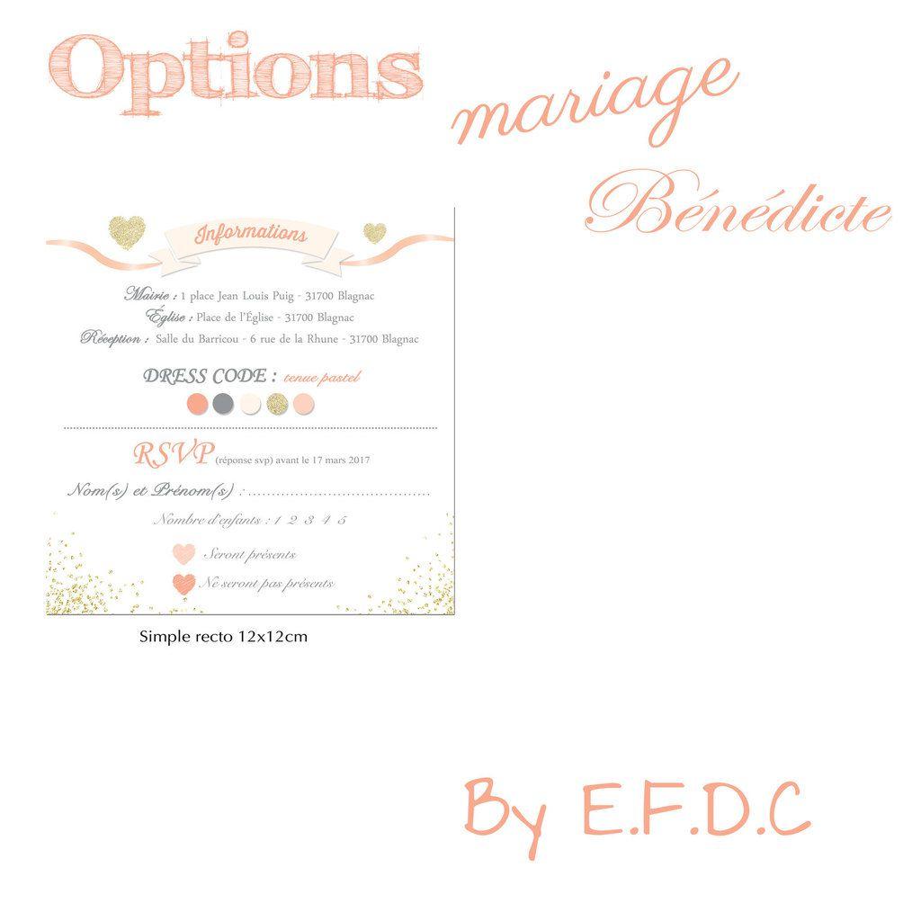 option, rsvp simple recto 12x12cm à découper, assorti au faire part de mariage, adresses utiles, scrap digital