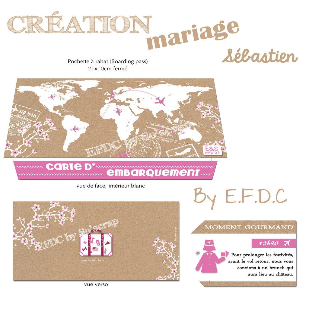 faire part mariage, pochette billet d'avion, voyage, mappe monde, impression fond kraft, 21x10cm fermé, scrap digital