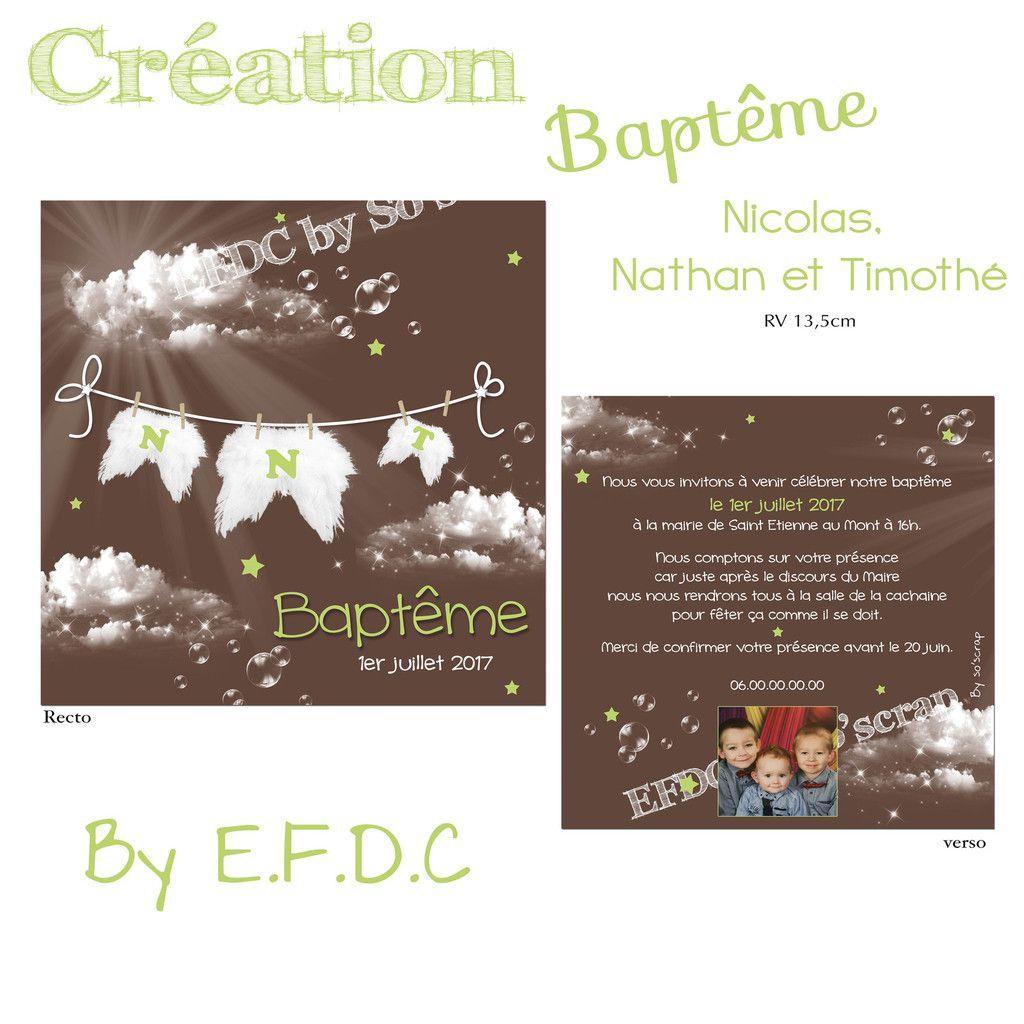 faire part baptême, cacao, recto verso 13,5cm, thème nuages et étoiles, ailes d'ange, texte et photo à personnaliser, scrap digital