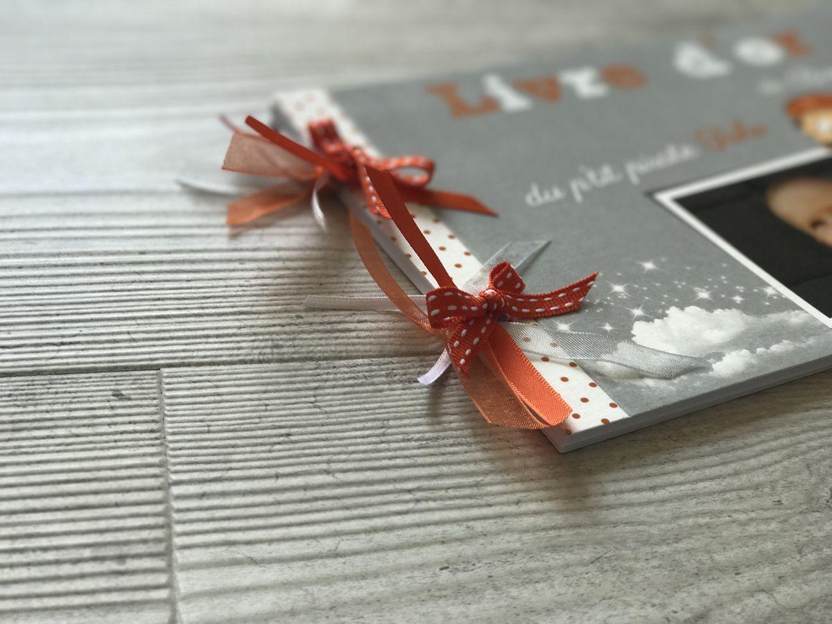 livre d'or assorti au faire part de baptême thème pirate, orange et gris photo et couleur à personnaliser, 25 feuilles banches + ruban
