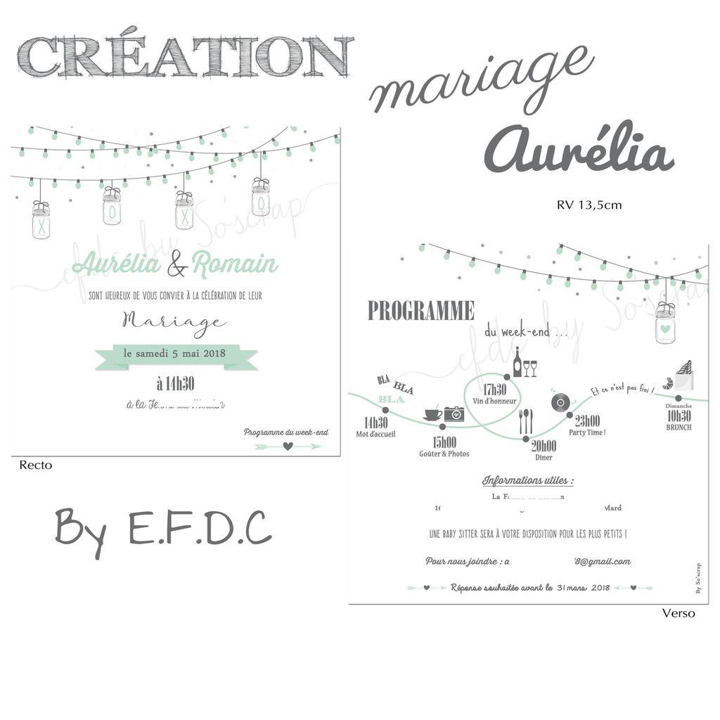 faire part mariage RV 13,5cm,  thème guinguette, à personnaliser couleur et texte, pictogrammes pour le D-Day (programme du jour), scrap digital, gris et vert menthe