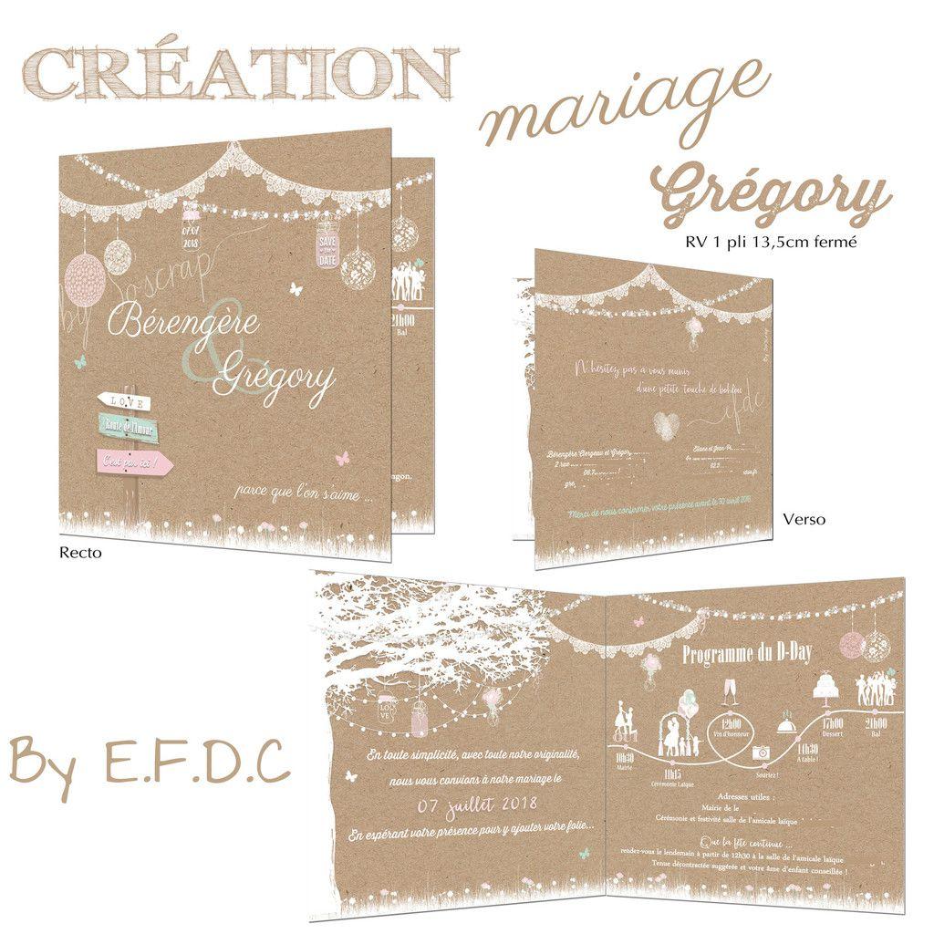 faire part mariage version 1 pli 13,5cm fermé, impression fond kraft, thème shabby et champêtre, scrap digital