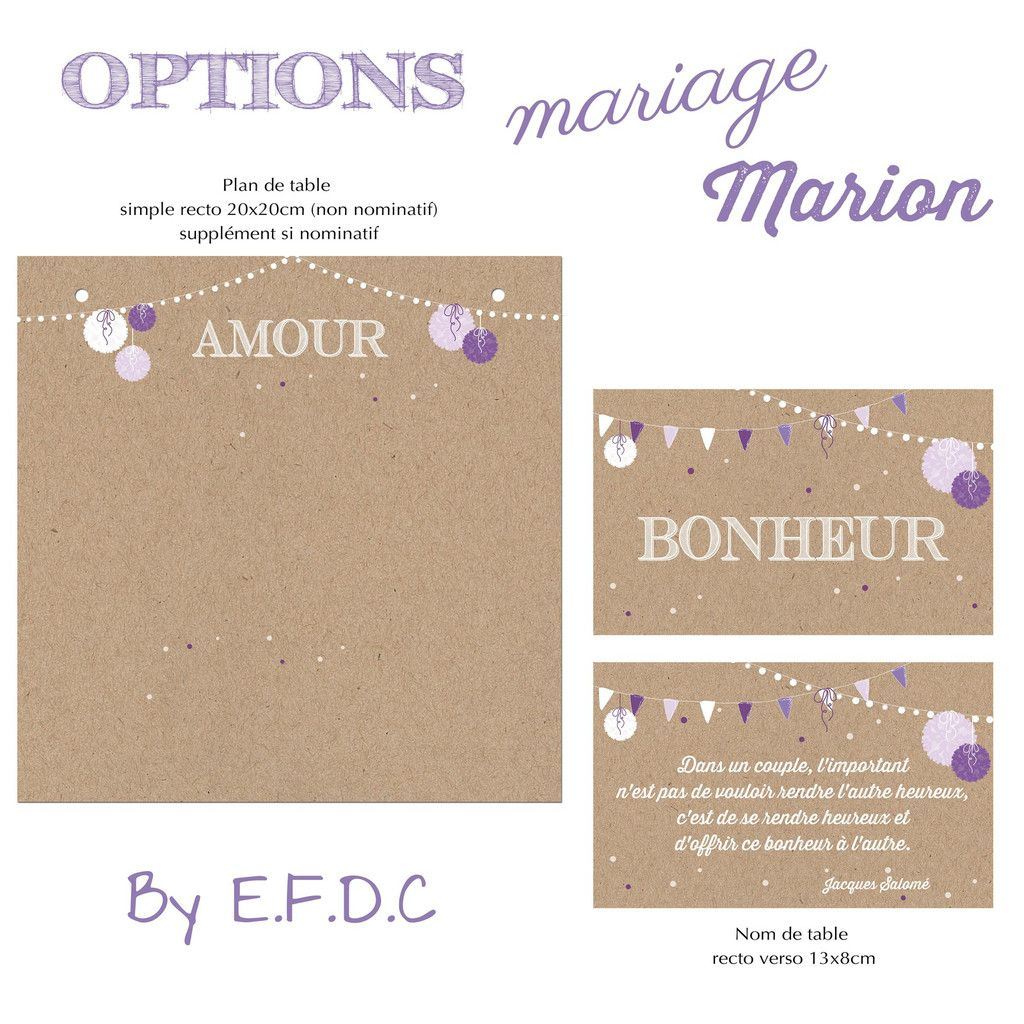 option assortie au faire part de mariage, plan de table non nominatif (supplément si nominatif), impression fond kraft, nom de table avec proverbe recto verso, scrap digital