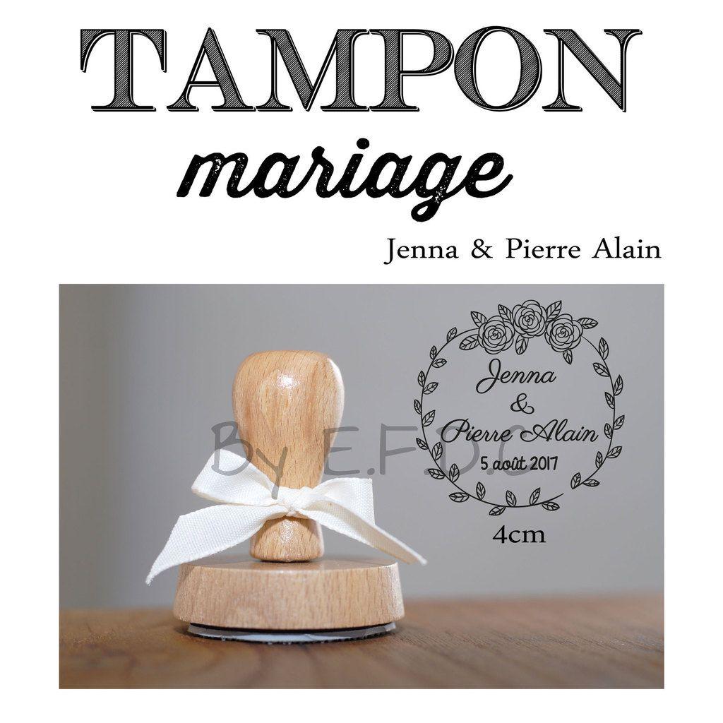tampon sur mesure et personnalisé, thème floral, champêtre, montage support bois, encre non fournie, prénoms des mariés et date d mariage, rond, 4cm