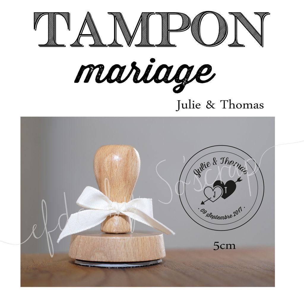 tampon montage support bois, thème coeur entrelacés, initiales des mariés et date de mariage, montage support bois (encre non fournie), à personnaliser, rond 5cm