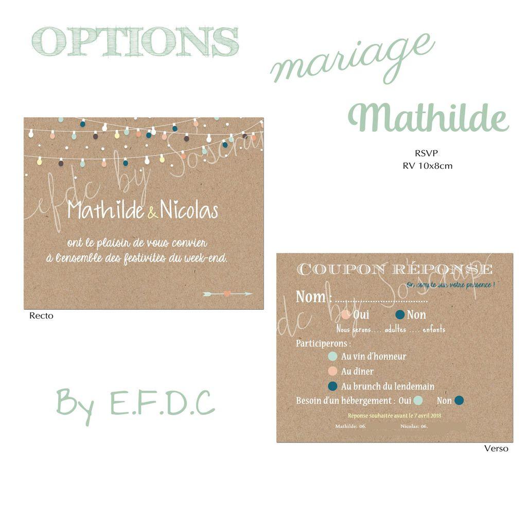 rsvp assorti au faire part de mariage, recto verso 10x8cm, à personnaliser texte et couleur