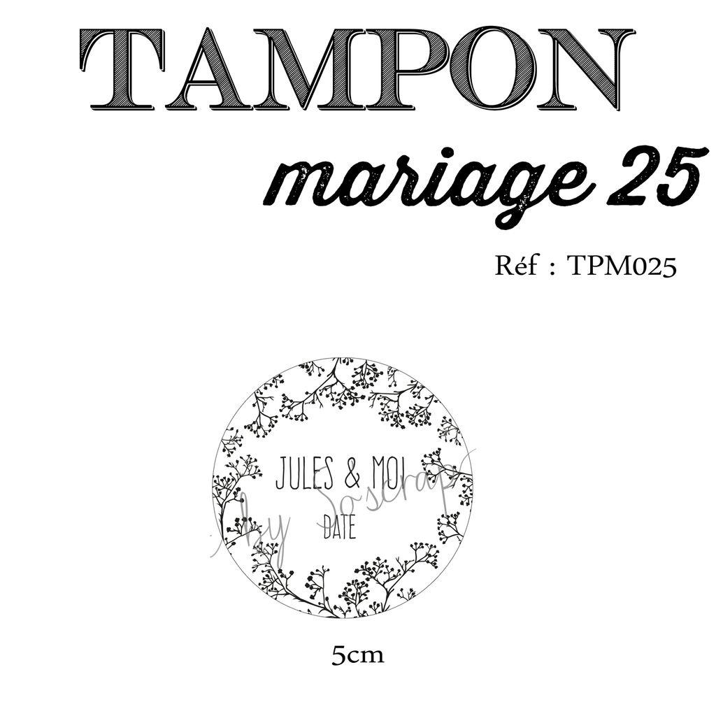 RÉF TPM025 : tampon sur mesure et original, montage sur support bois, 5cm, thème GYPSOPHILE, à personnaliser, prénoms des mariés et date mariage