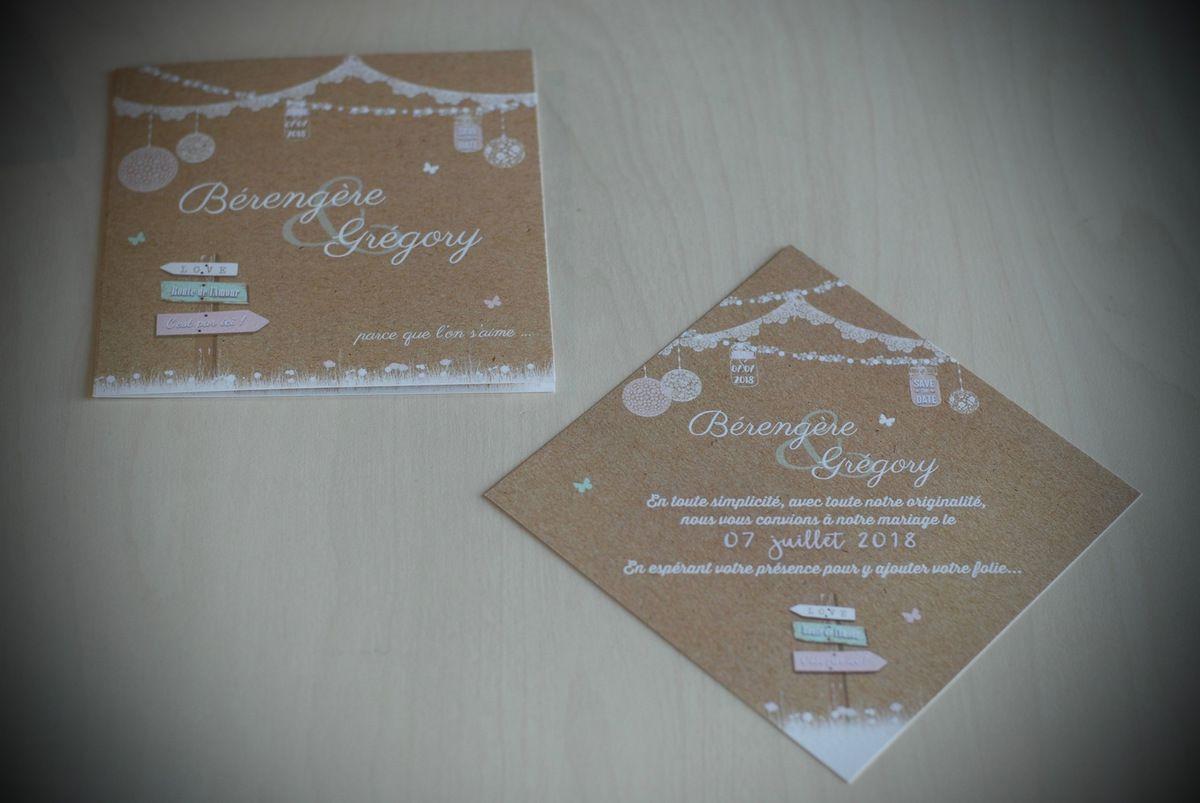 image photo faire part mariage 2 format (carré et orange, original à personnaliser, thème romantique bucolique, shabby chic