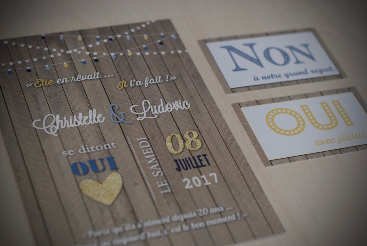 image photo faire part mariage, thème bois, guinguette, or (digital) et bleu, à personnaliser