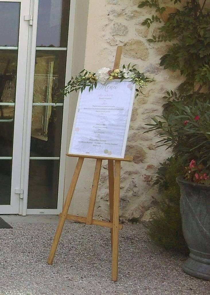 image photo réalisation affiche plan de table et menu A2 assortis au faire part de mariage