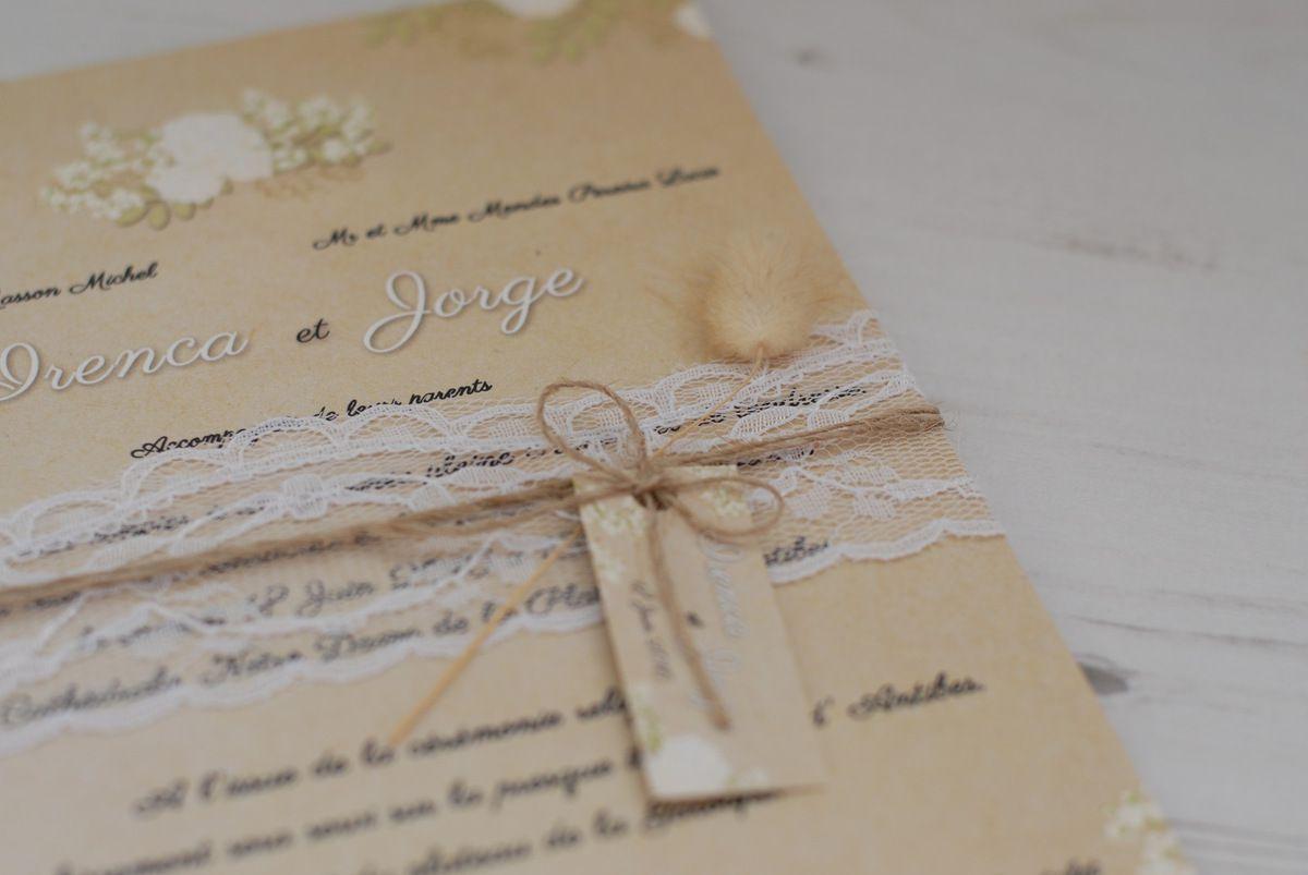 image photo faire part mariage thème chic et romantique dentelle, arbre, à personnaliser
