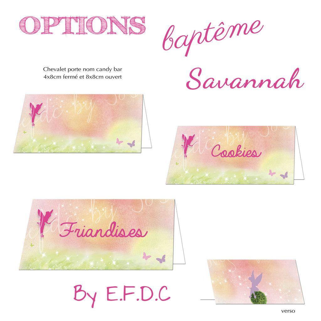 options chevalet porte nom friandises Candy bar à personnaliser thème fée clochette et assortis au faire part de baptême, scrap digital, 8x4cm plié