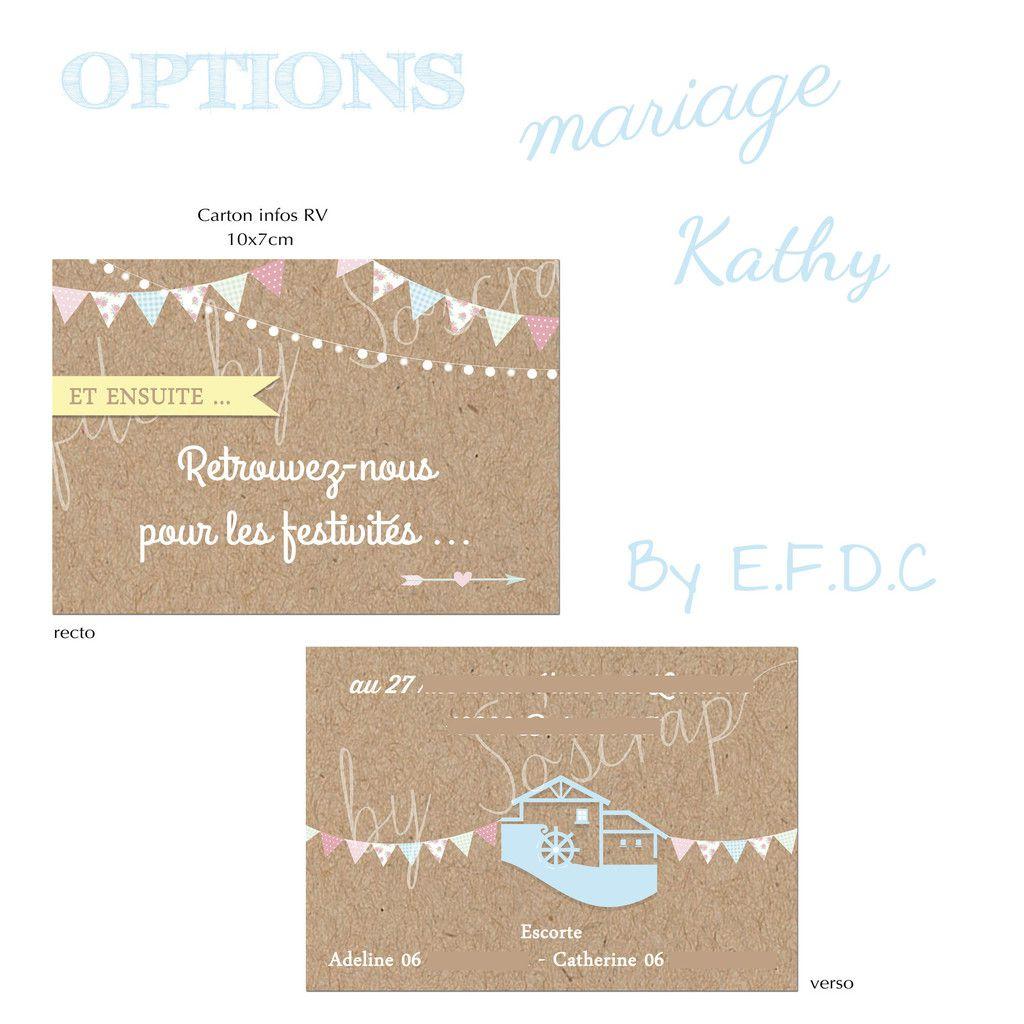 option carton information lieu festivités assorti au faire part de mariage modèle fanions, recto verso, scrap digital, impression fond kraft, 10x7cm