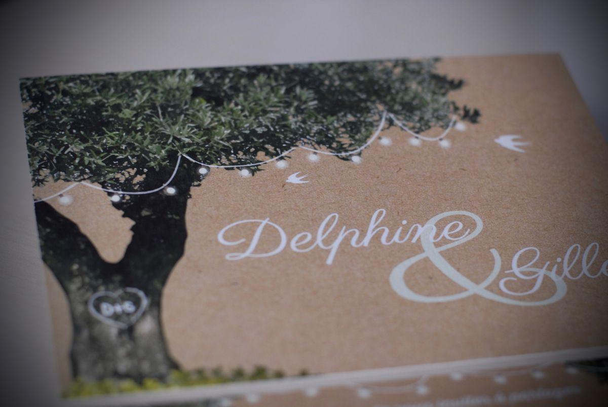 image photo faire part mariage impression type kraft, arbre olivier, guinguette lumineuse digital, à personnaliser, recto verso 12x17cm