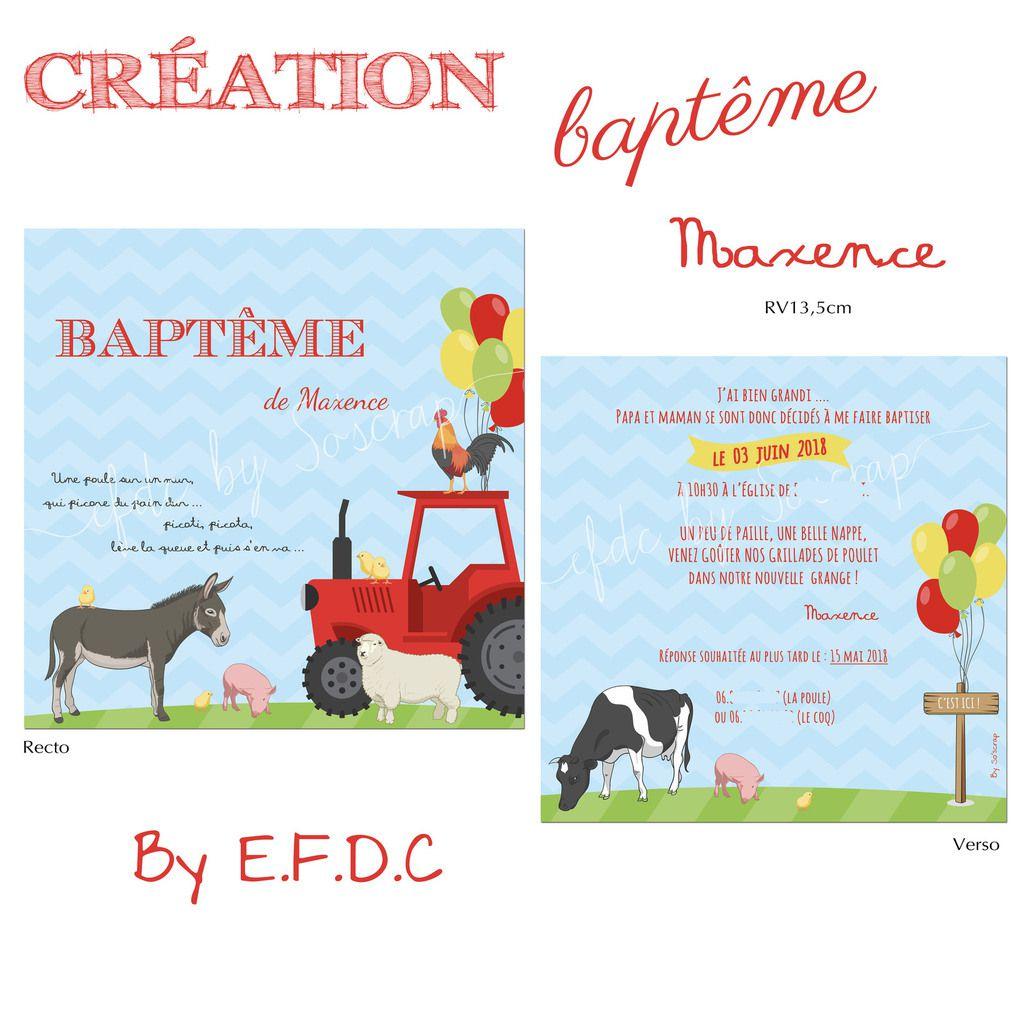 faire part baptême, recto verso 13,5cm, personnalisable, scrap digital, animaux de la ferme, âne, poules, vaches, poussins et tracteur, ballons baudruches