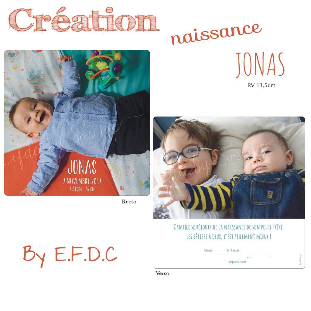 Le faire part de naissance de Jonas ... thème photos frère