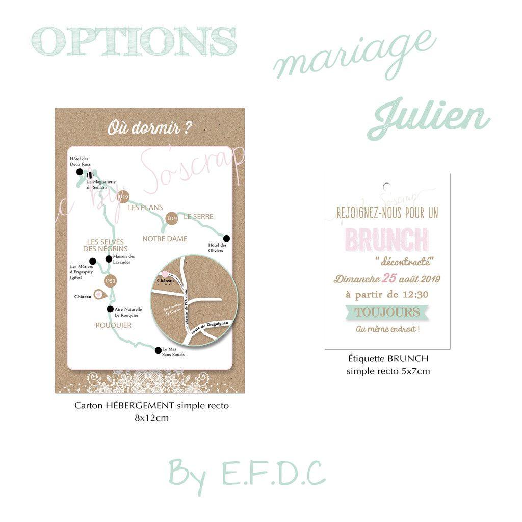 option fair part mariage carton #brunch carte hébergement adresse à fournir par le client #efdcbysoscrap #kraft