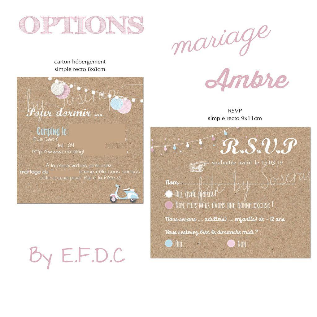 options RSVP et carton hébergement kraft assorties au faire part de mariage