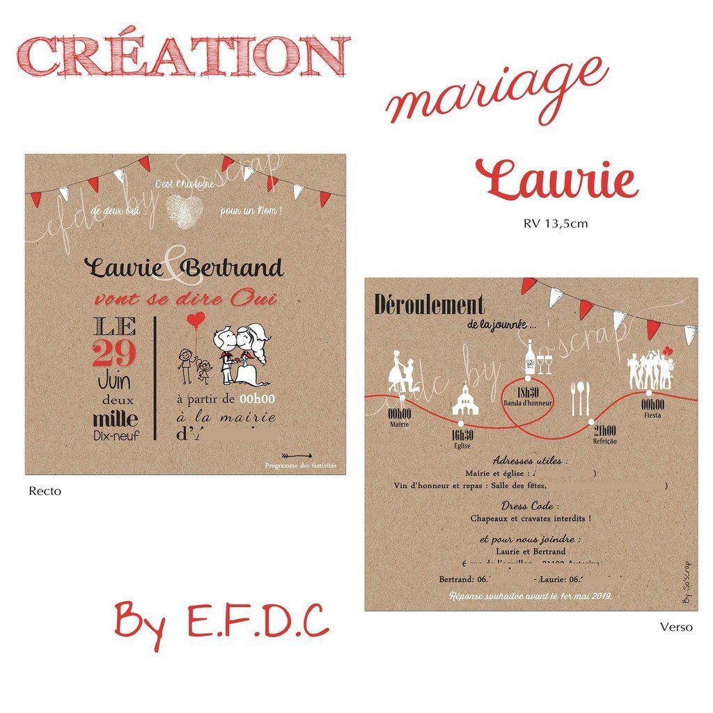faire part mariage thème féria rouge et blanc #mariage #féria #fanions #papeteriemariage #efdcbysoscrap #pictogrammes programme du D Day planning du jour #illustration #kraft recto verso 13,5cm texte et couleurs à personnaliser