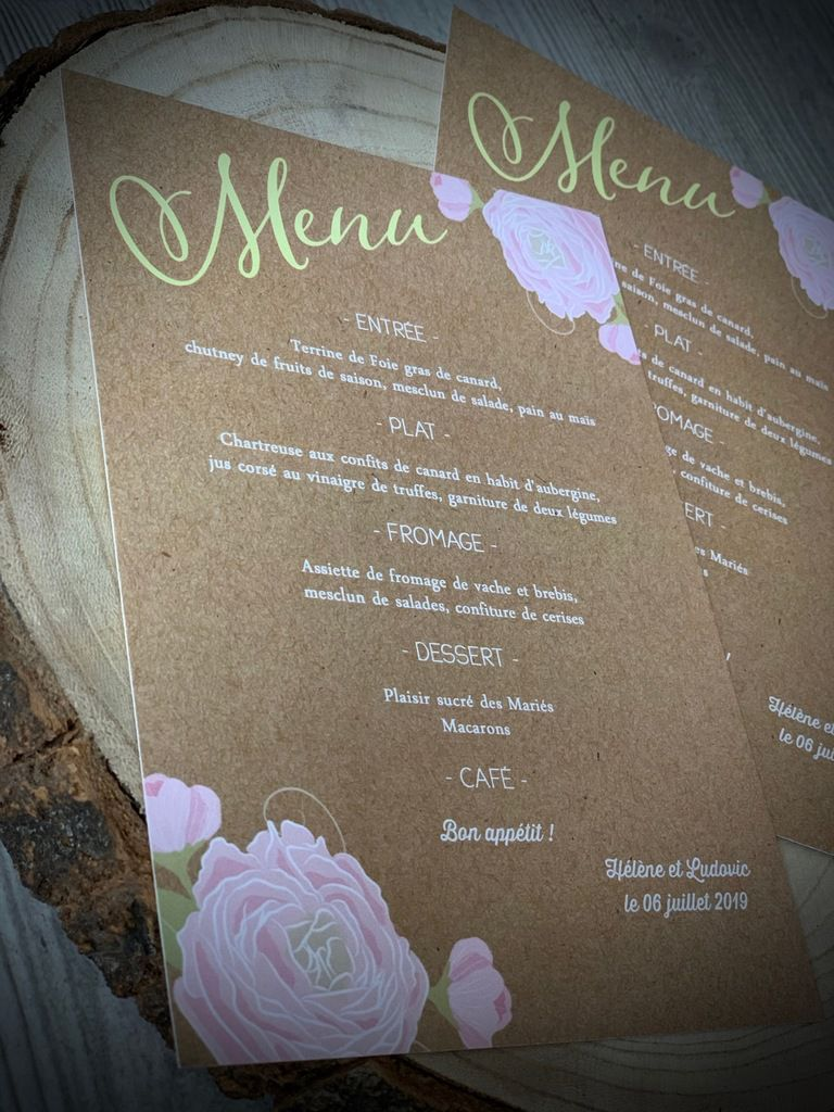 option menu assorti au faire part démarrage thème floral rose #kraft