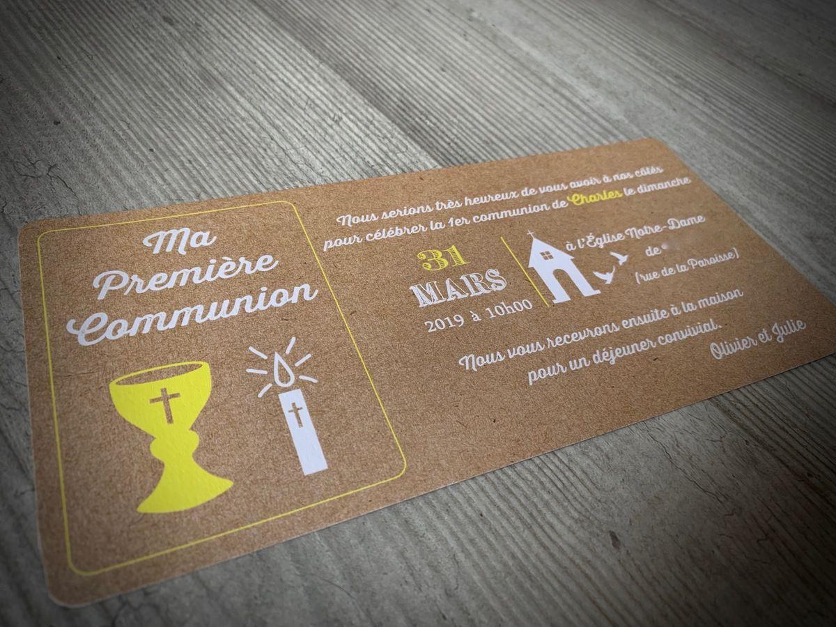 faire part communion #invitation #communion #kraft #jaune #efdcbysoscrap #calice #bougie #église à personnaliser #papeteriesurmesure