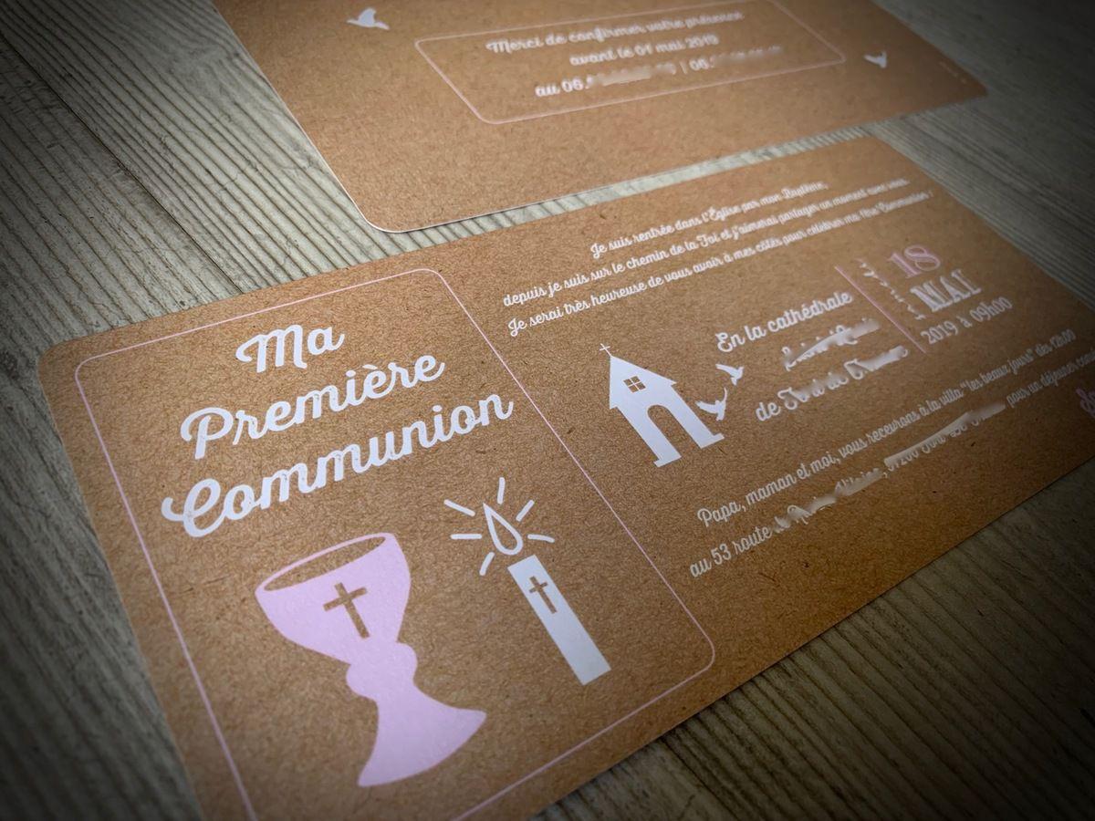 faire part communion #invitation #communion #kraft #rose #efdcbysoscrap #calice #bougie #église à personnaliser #papeteriesurmesure