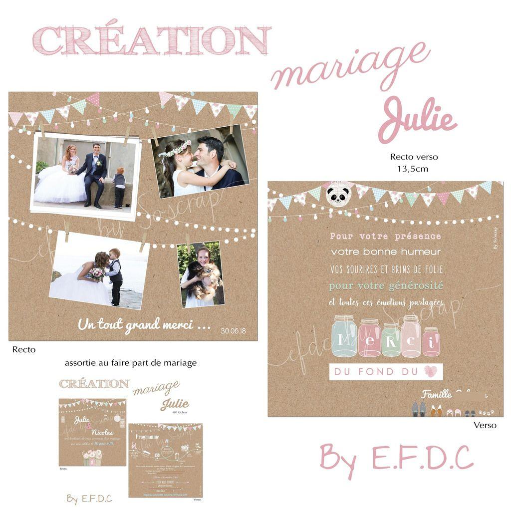 carte remerciements assortie au faire part de mariage #efdcbysoscrap