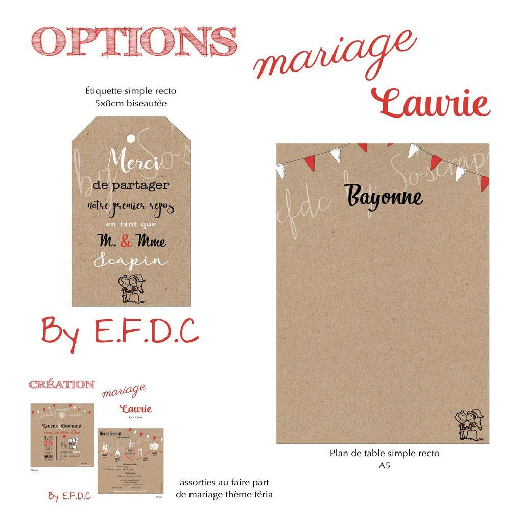 options étiquette de table remerciements + menu assorti au faire part de mariage #efdcbysoscrap