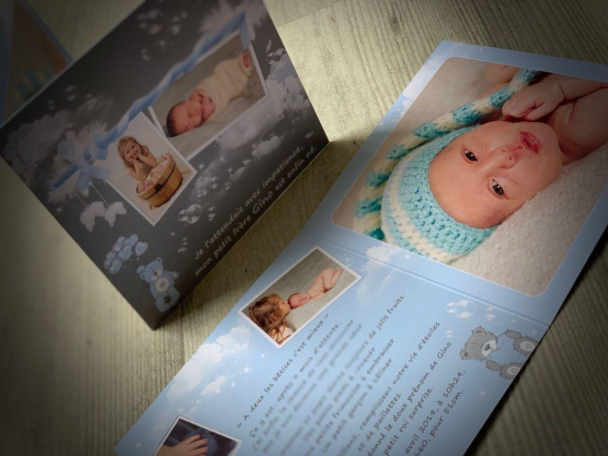 faire part naissance à personnaliser, ourson, nuage #efdcbysoscrap #naissance #grisetbleu sur mesure recto verso 13,5cm fermé #photo #bébé #ourson