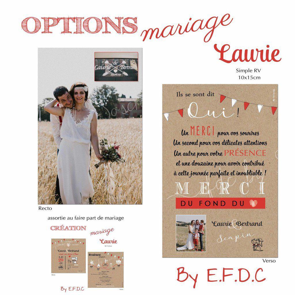carte de remerciements assortie au faire part de mariage recto verso 10x15cm à personnaliser texte et photo #efdcbysoscrap thème féria